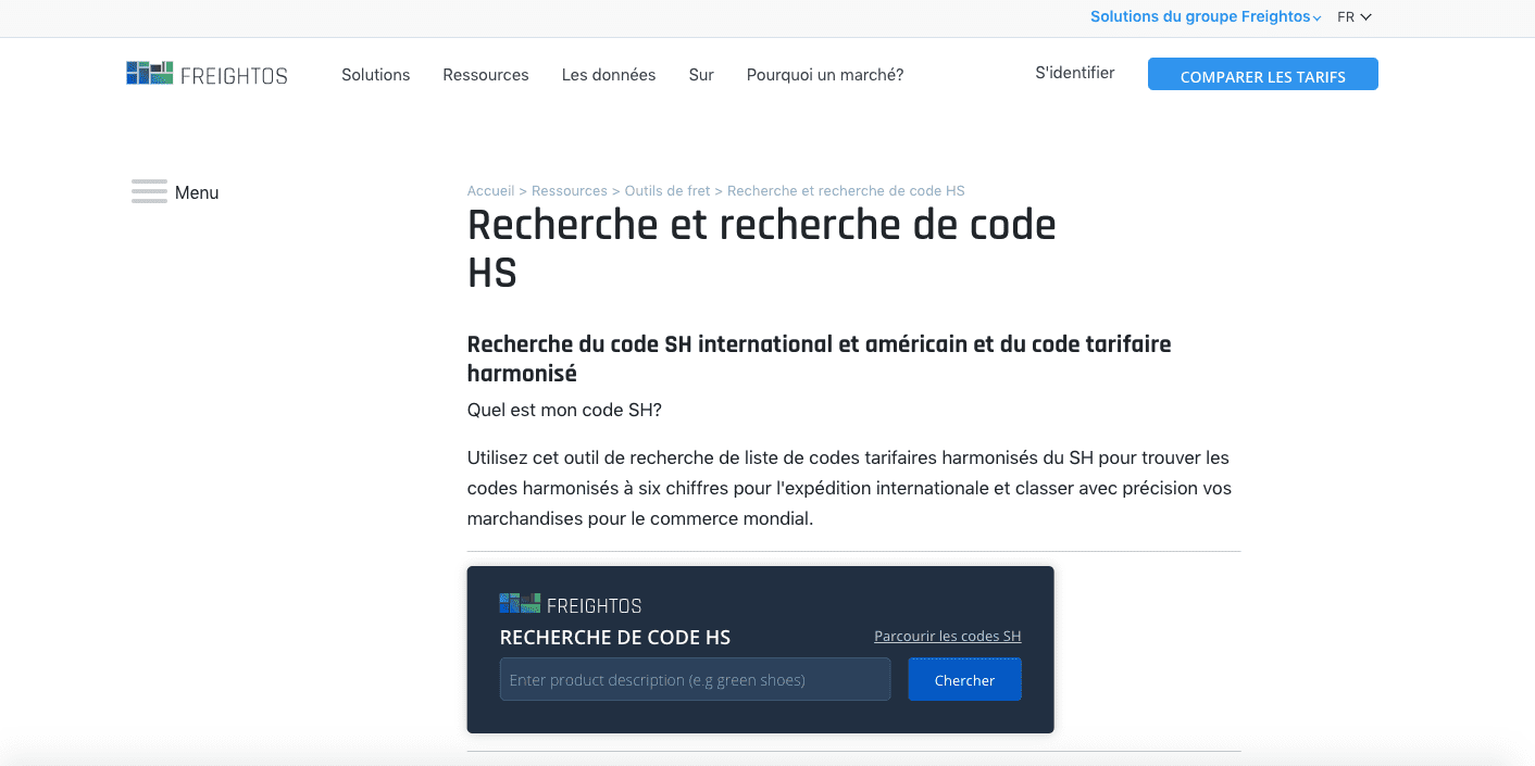Recherche code HS