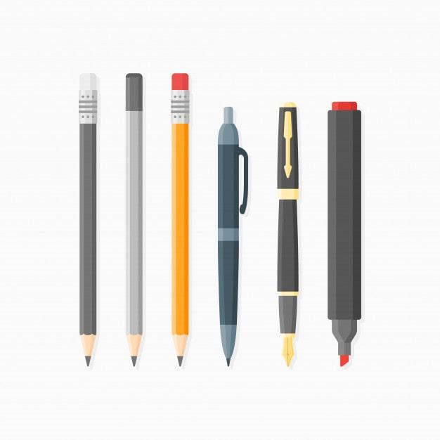 ensemble-articles-ecriture-dessin-stylo-bille-plume-crayons-marqueur-style-plat