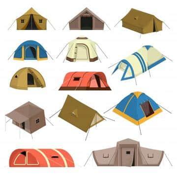 ensemble-tentes-touristiques-colorees