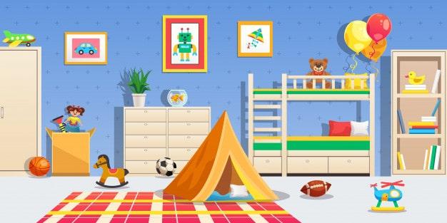 interieur-chambre-enfants-meubles-blancs-tente-balles-sport-jouets-colores-plat-horizontal