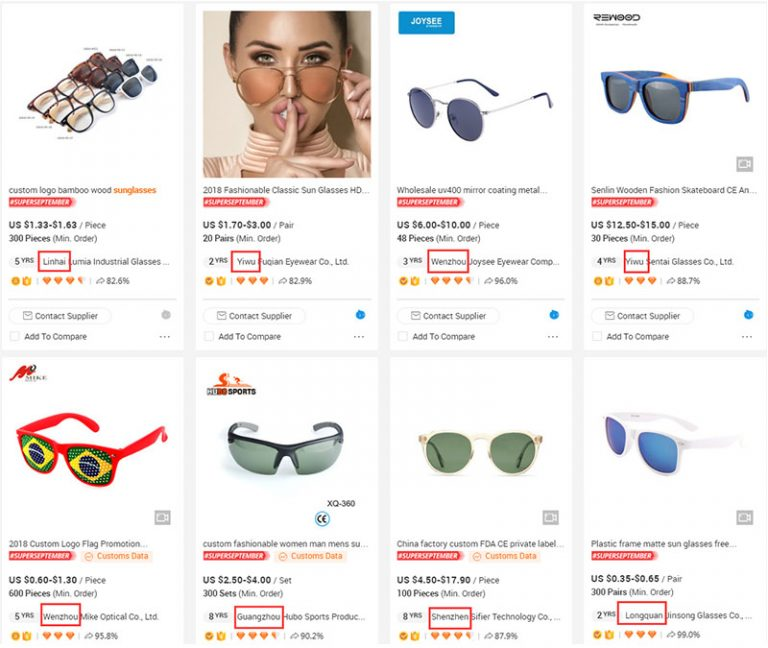 lunettes de soleil alibaba