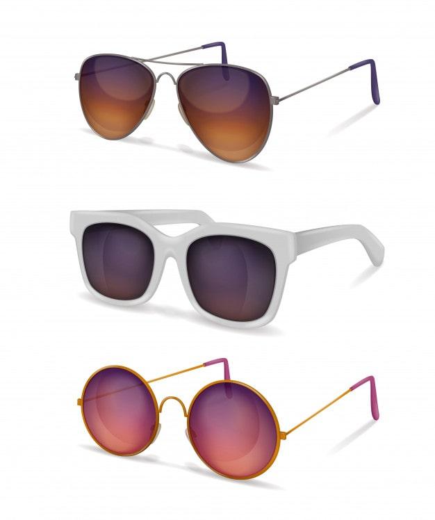 lunettes-soleil-realistes-differents-modeles-lunettes-soleil-montures-metal-plastique-ombres