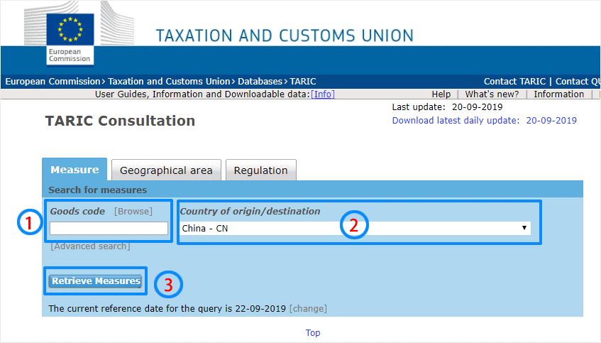 Consulter les taux de droits de douanes 1