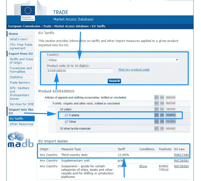 Consulter les taux de droits de douanes 3