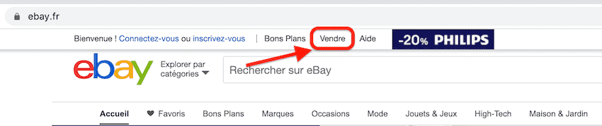 bouton vendre sur ebay
