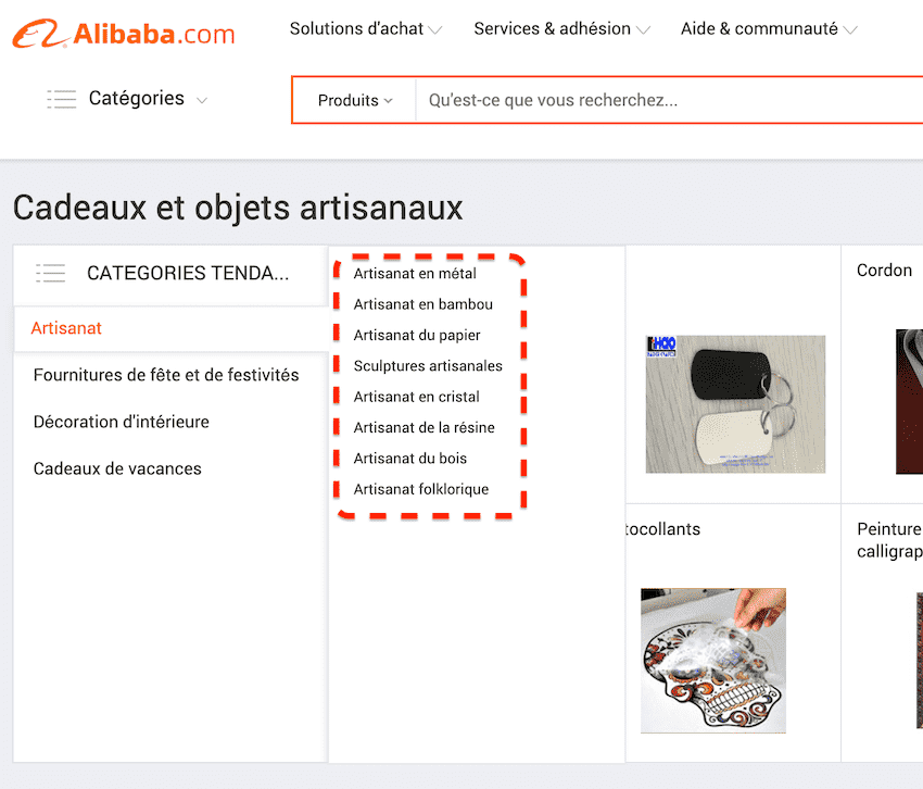 categorie artisanat alibaba