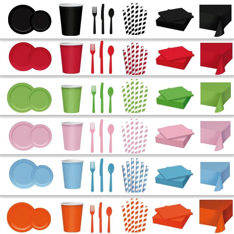 assiettes - verres - pailles - serviettes de décoration