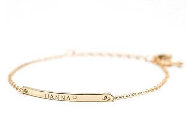 16K Gold Your Name Bar Bracelet