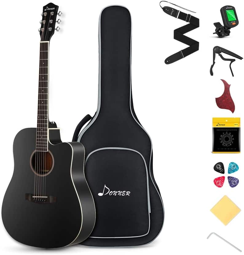 Donner Black Acoustic Guitar Kit