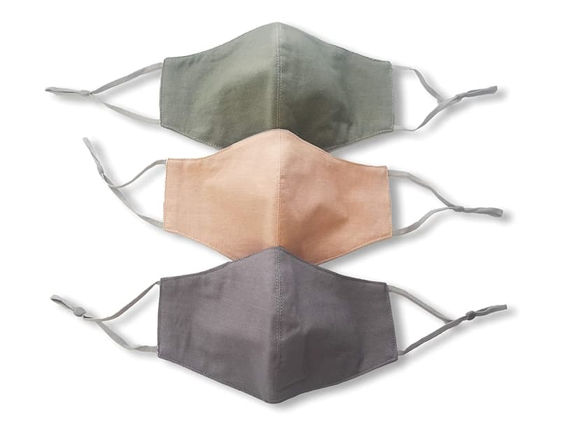 Grey Green Peach Face Masks with nose wire filter pocket adjustable