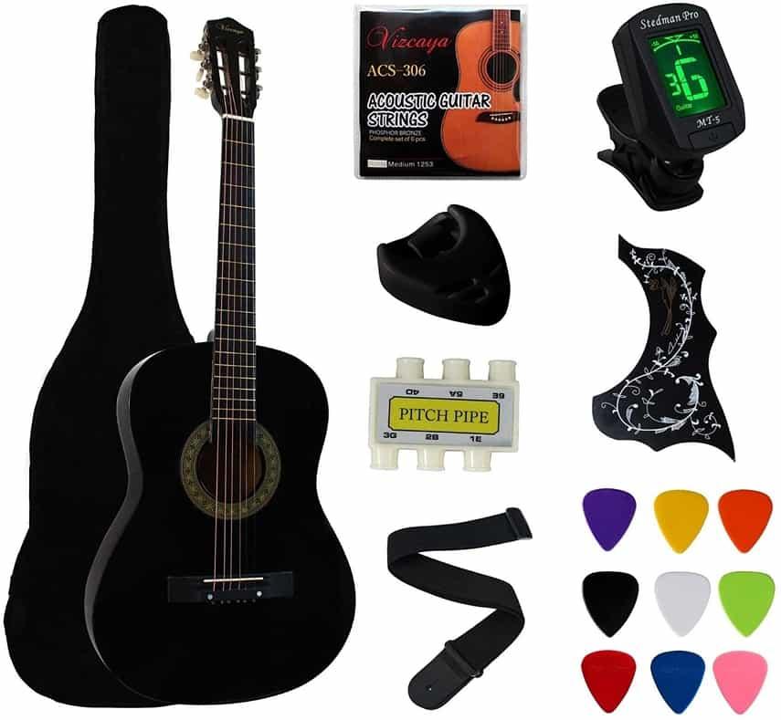 YMC 38 Black Beginner Acoustic Guitar Starter Package